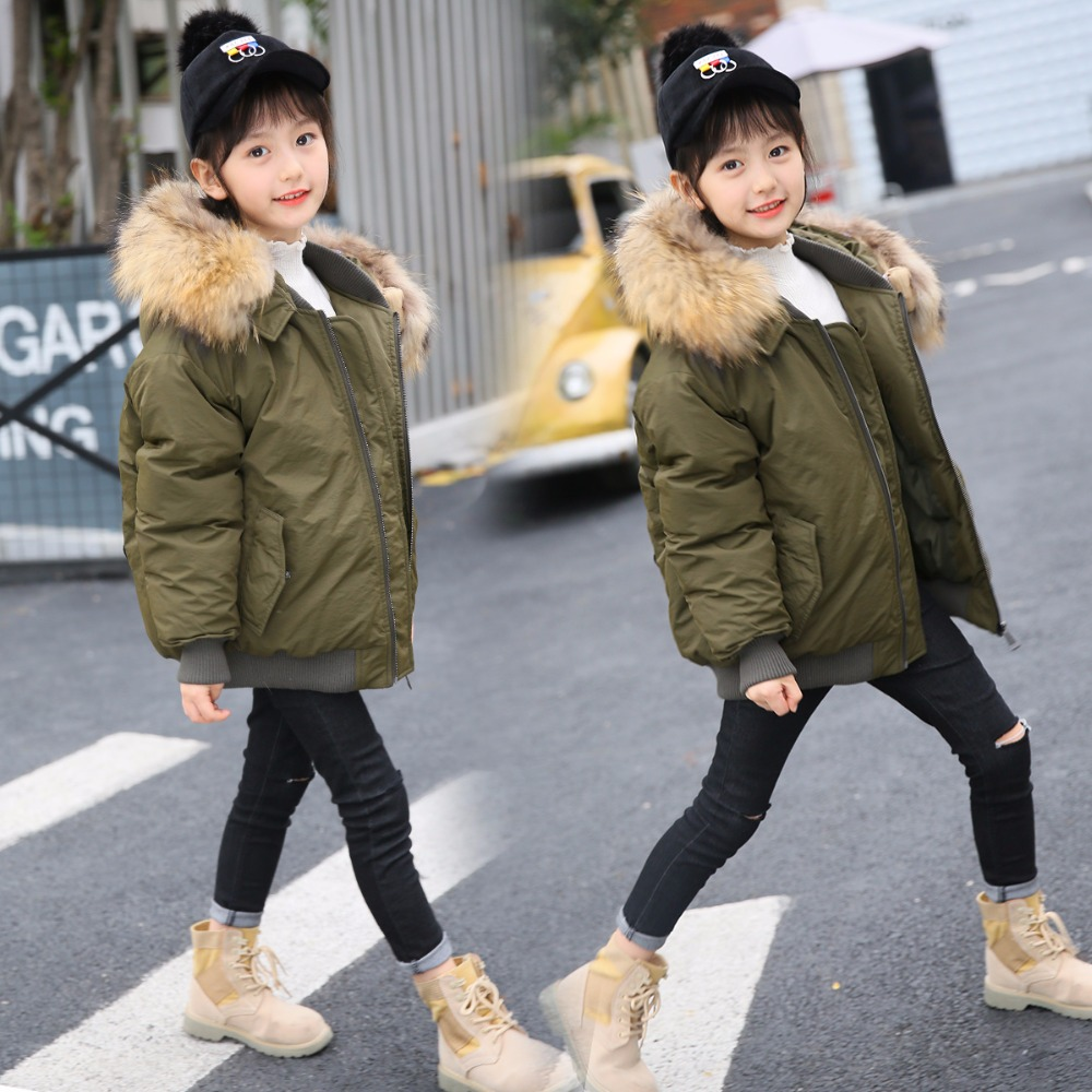 HSSCZL Girls down jacket duck 2018 Brand winter thicken hooded Natural fur collar outerwear overcoat children down coat 7-14A 2013 winter brand fashion luxury natural white fox fur collar hood denim jacket duck down jacket women outerwear s m l xl d2124