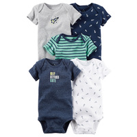 Baby Newborn 5 Piece Suit Set Spring And Summer Short Sleeved Boy And Girl Coveralls Short