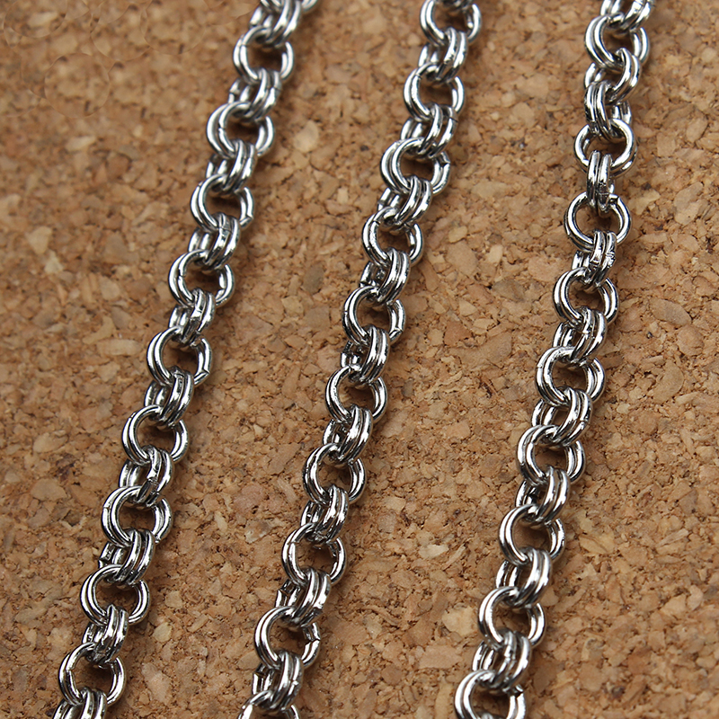 5 Meter/pack Stainless Steel Double Rings Necklace Chains Silver Tone Open-linked bulk Chains for Women Men Jewelry Making F3614