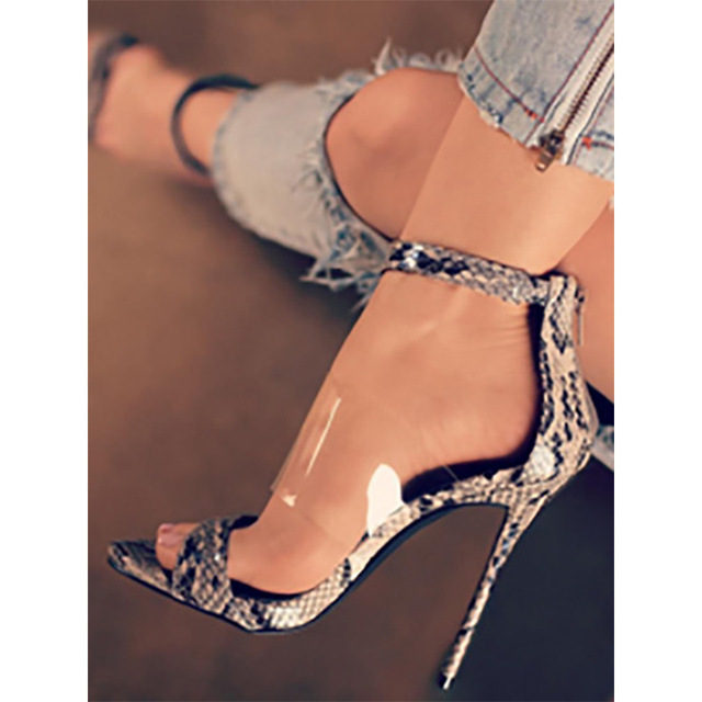 9d319706602d2 2018 New Arrival Fashion Women Mixed Color Sandals Sexy Snake Print PVC Film  Hgh Heels High Quality Leather Casual Party