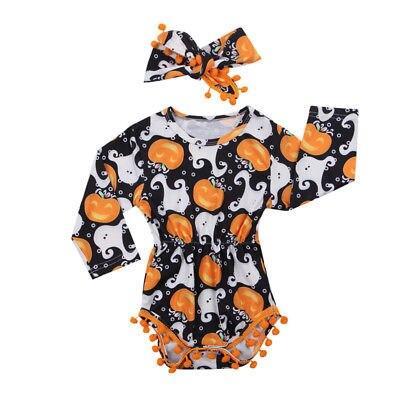4a4f57a54dd0 Cute Baby Girls Infant Halloween Clothes Pumpkin Long Sleeve Romper+Headband  2pcs Outfits Set