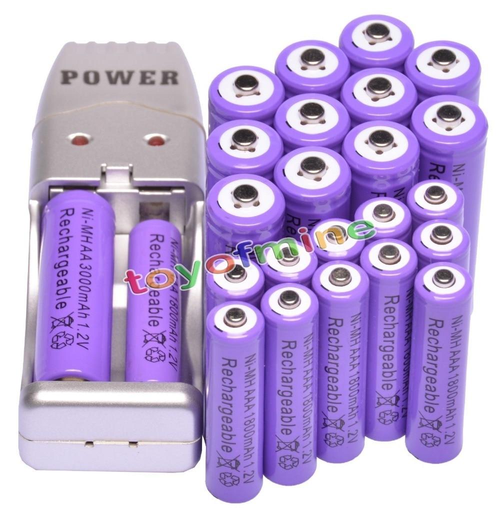 12xAA 3000mAh+12xAAA 1800mAh Rechargeable 1.2V Ni-MH Purple Battery+USB Charger