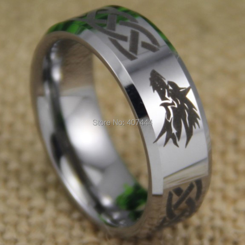 Free Shipping Usa Uk Canada Russia Brazil Hot S 8mm Legend Of Zelda Wolf Silver Beveled The New Men Tungsten Wedding Ring In Bands From