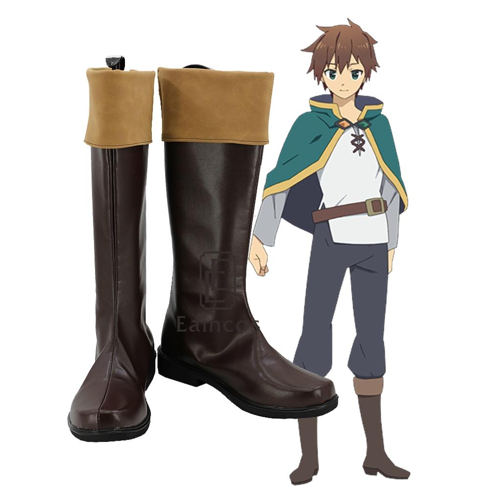 KonoSuba God s Blessing on this Wonderful World Kazuma Satou Cosplay Shoes Brown Boots Custom made