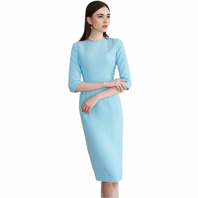 Young17 Women Summer Pencil Dress Half sleeve Knee Length Elegant Light Blue Female Work Wear Dresses Lady Straight Office Dress