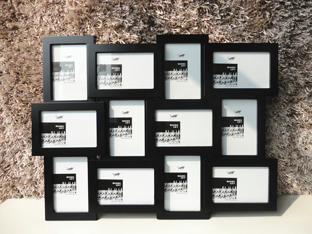 black home collection photo frame multi frames 4x6 inch x12 - Multi Picture Frames