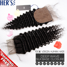 Brazilian Deep Wave 4×4 Silk Base Closure,7A Human Virgin Hair Lace Closure With Baby Hair,Wet And Wavy Human Hair Silk Closure