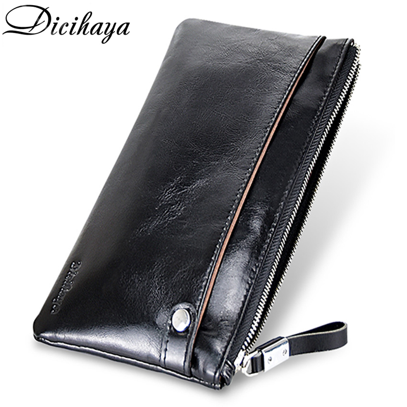 DICIHAYA Men Clutch Wallet Genuine Leather Male Purse And Handbags Luxury Brand Black Zipper Coin Pocket Card Holder Phone Bag