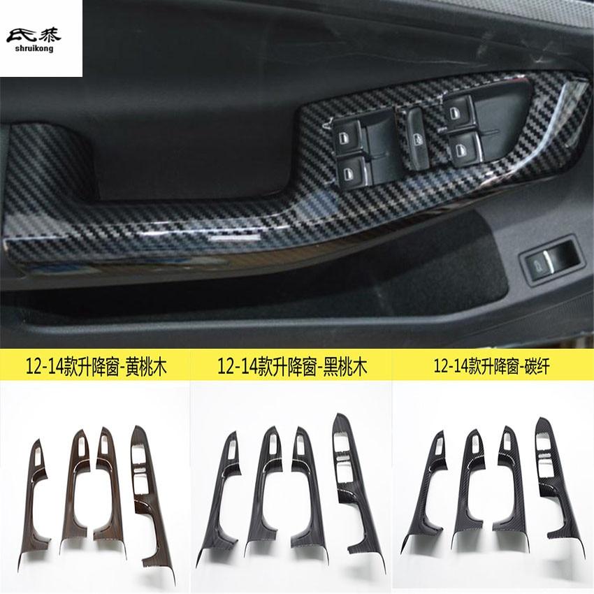 4pcs lot ABS carbon fiber grain or wooden grain car window lift panel decoration cover for