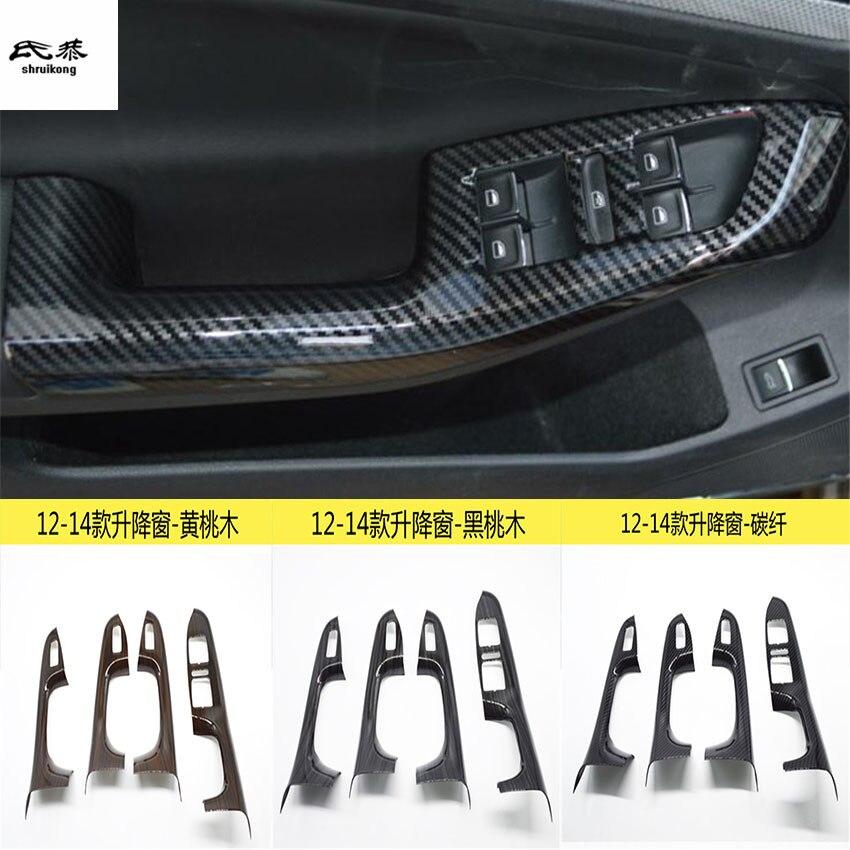 4 pcs/lot ABS fiber de carbone grain ou en bois grain de voiture fenêtre ascenseur panneau décoration couverture pour 2012-2014 Volkswagen VW JETTA MK6