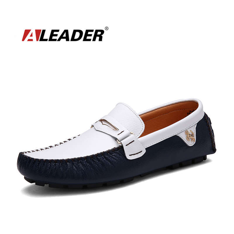 Aleader 2018 Men Shoes Genuine Leather Loafers Slip On Fashion Casual Driving Shoes Men Mocassins Flats Shoes Zapatos Hombre genuine leather shoes men top quality driving flats shoes soft leather men shoes loafers moccasins breathable zapatos hombre