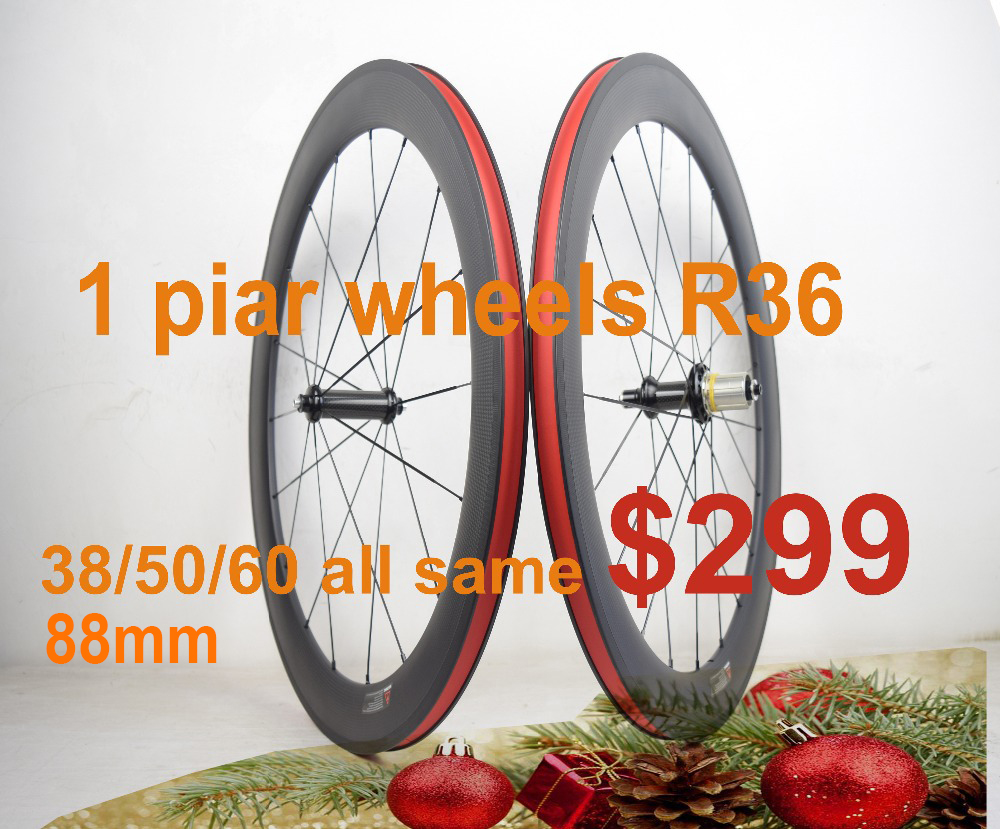 700C Straight pull R36 carbon wheels 38mm 50mm 60mm 88mm road bicycle wheels 23mm width clincher