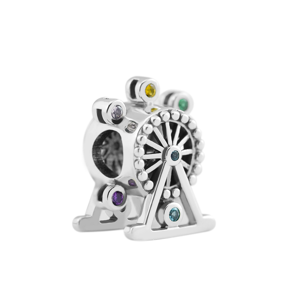 Fits for Pandora Charms Bracelets Ferris Wheel Beads 100% 925 Sterling Silver Jewelry Free Shipping