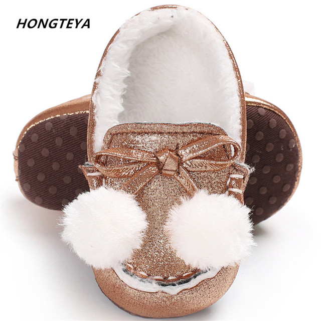9151e613cf68 2019 New warm baby boots Infant Girl Fur shoes Glitter Trainers Soft Sole  Pram Shoes bling ball Baby First Walkers Shoes 0-18M