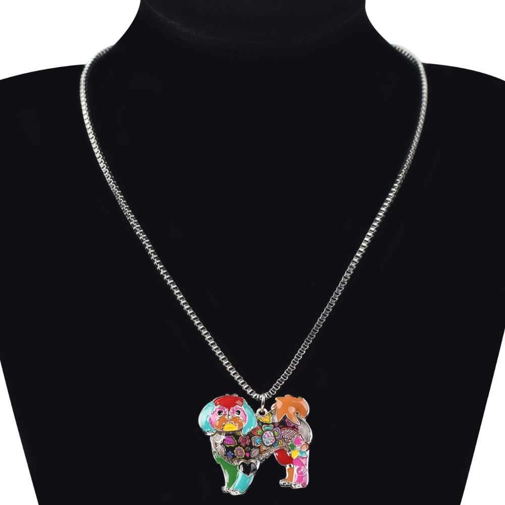 Bonsny Макси заявление сплава Йорки Йоркширский собака Ши-тцу Jewelry колье Эмаль Цепочки и ожерелья цепь воротник кулон Мода для Для женщин