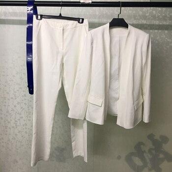 Autumn Pants Set Women White Jacket And Long Pants Suit 2019 Fashion Office Lady Two Piece Women Sets