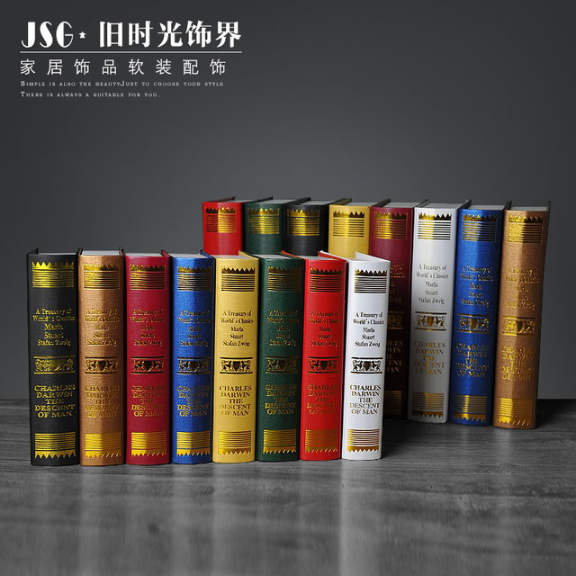 Old Time European Decorative Ornaments Darwin Book Photography Study Simulation Fake Bookcase Props Mode
