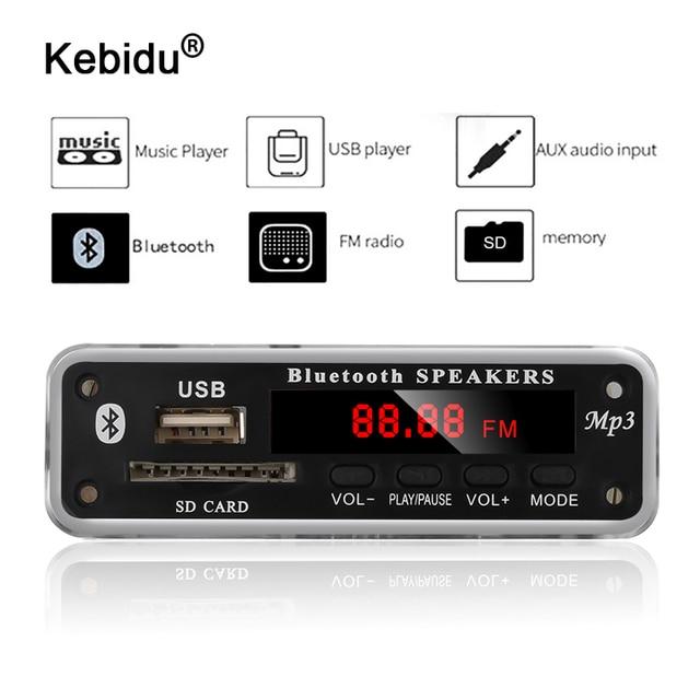 Kebidu 5V 12V DC SD FM 라디오 오디오 MP3 플레이어 AUX 3.5MM MP3 모듈 디코더 보드 자동차 원격 음악 스피커에 대 한 USB 전원 공급 장치