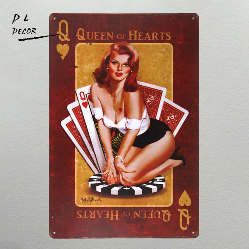 DL- 퀸 하트 금속 기호 빈티지 홈 장식 핀 포스터 차고 벽 예술 쥐 낚싯대 스티커
