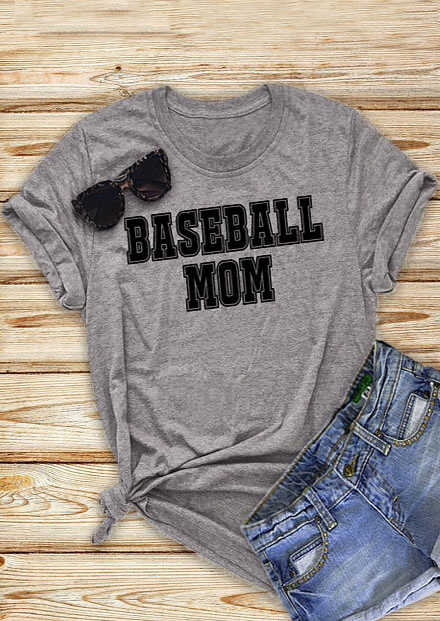 aa9b0829 Baseball Mom Short Sleeve T-Shirt women summer cotton fashion tees mother  days gift tops