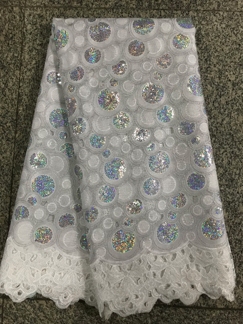 2018 New design embroidered sequins french lace fabric for party dress high quality Organza net lace fabric2018 New design embroidered sequins french lace fabric for party dress high quality Organza net lace fabric