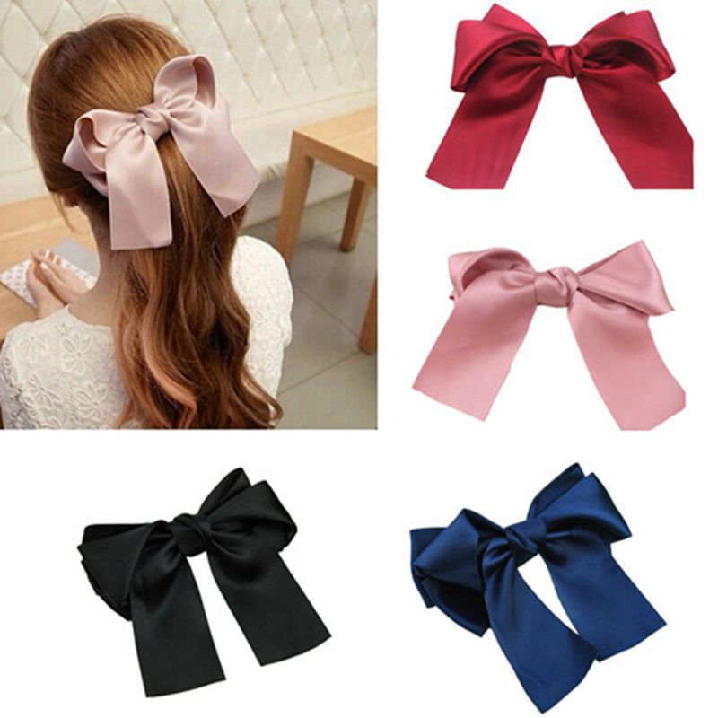 4 colors Women Girls Cute Large Big Satin Hair Bow plus size Hair Clip Ribbon Bow office lady solid bow hairbands 2018 hot sale