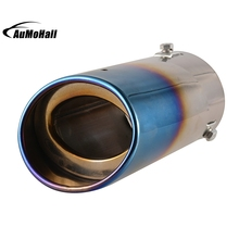 Automobile Single Exhaust Pipes Tips Stainless Steel Silver Blue Chrome Round Tail Muffler Tip Pipe