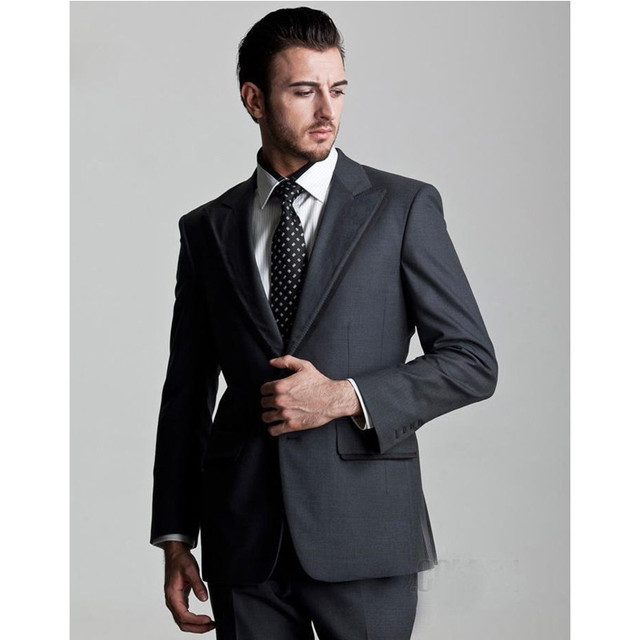 Custom Made New Smokings de Marié Meilleur Homme Costume Gris Anthracite Groomsman  Hommes de Mariage  e955dc29694
