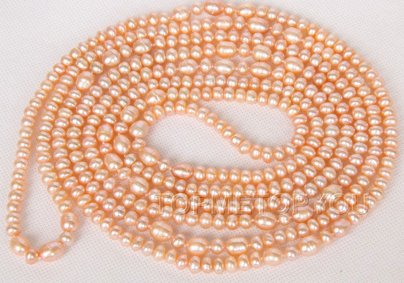 "Free Shipping >>length 88"" 11mm baroque pink freshwater pearls necklace e2517"