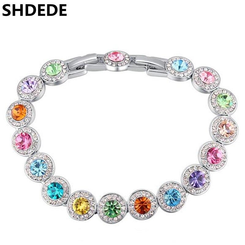 d538d5a34f8d SHDEDE austríaco cristal de Swarovski encanto pulseras para las mujeres moda  colorido famosa marca de joyería-25067