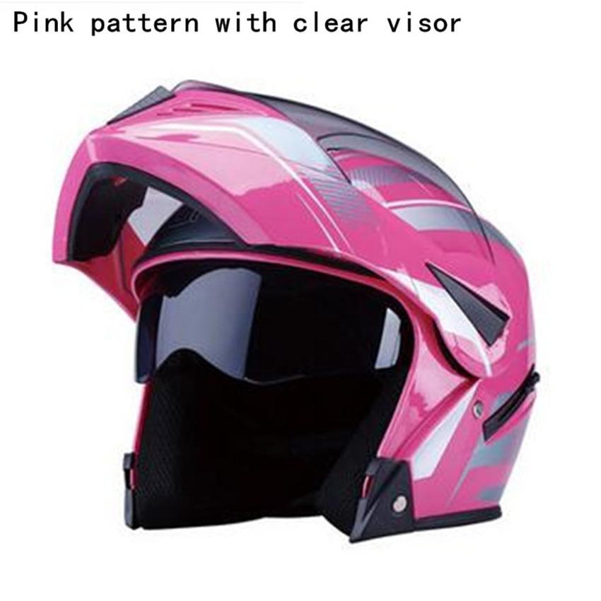 2018 New pink color model Motorcycle Helmet Mens Moto Cross Helmets Capacete Motocross cascos para moto with Double lens M L XL