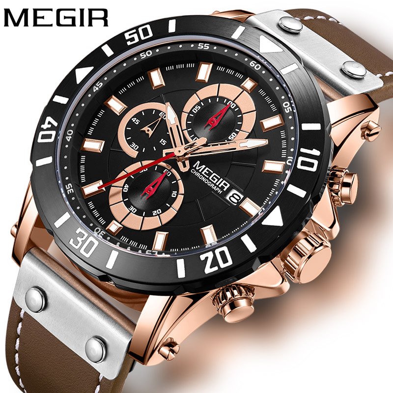 Megir Mens Watch Genuine Leather Automatic Date Quartz Watch Casual Mens Luxury Brand Waterproof Sport Clock Relogio MasculinoMegir Mens Watch Genuine Leather Automatic Date Quartz Watch Casual Mens Luxury Brand Waterproof Sport Clock Relogio Masculino