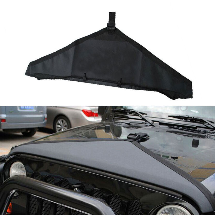 1x Car Styling Canvas Hood Cover Front End Bra Protector Kit Black Fit For Jeep Wrangler 2007-2015 Engine Exterior Accessories