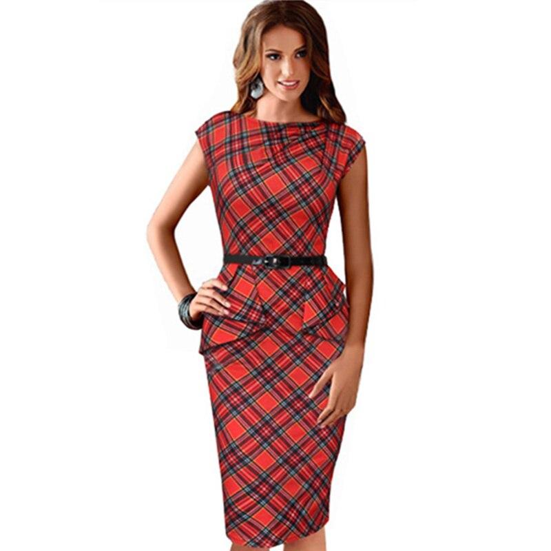 2016 Lady Dress Brand New Womens Vintage Elegant Belted font b Tartan b font Peplum Ruched