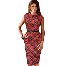 2016 Lady Dress Brand New Womens Vintage Elegant Belted Tartan Peplum Ruched Tunic Work Party Bodycon Sheath Dress