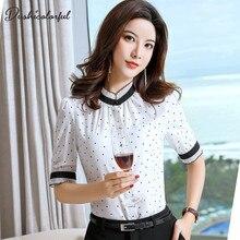 women silm shirt  elegant blouse office ladies polka dot plus size tops summer white 4xl half sleeve dushicolorful