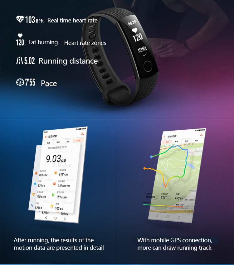 New original huawei glory Bracelet 3 Smart Bluetooth motion,heart rate,sleep monitoring,waterproof Wrist Watch For xiaomi 2 7
