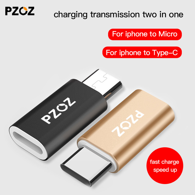 PZOZ For IPhone To Type C Adapter To Micro USB Cable Converter Charging For Xiaomi Redmi 5 Plus 4x Mi 8 A1 6 X Oneplus Usb-c OTG