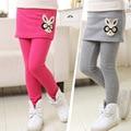 Meninas calças de inverno leggings pantskirt culotte quente falsos duas peças leggings de lã crianças calças meninas crianças saia dividido