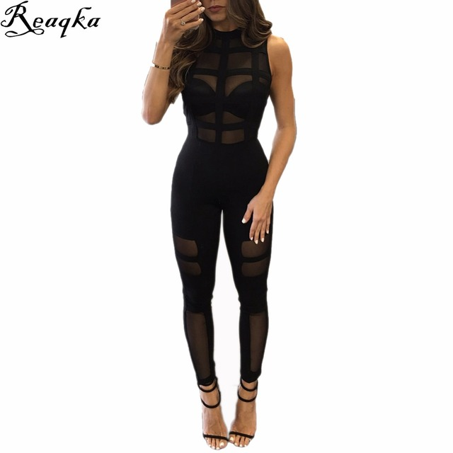 Elegante Sexy perspectiva Rompers Womens Jumpsuit 2016 New Arrivals black Mesh Mangas Compridas Bodysuit Mulheres clube do partido Macacão