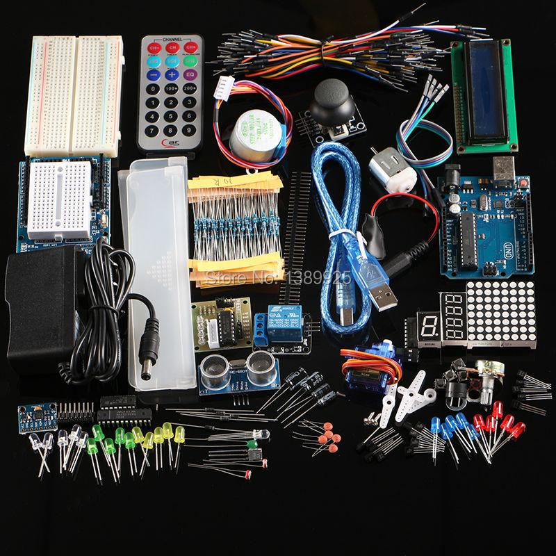 Frete Grátis kit Final Hc-sr04 Ultrasonic Sensor/Step Motor/Servo/1602 LCD/UNO R3 starter Kit com caixa de Varejo