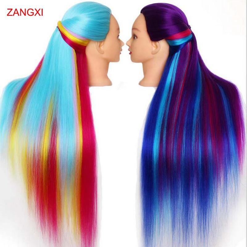 75cm 100% High Temperature Firber Hair Manikin Heads Hairdressing Training Head Nice Dummy Mannequin Head To Practice Braiding