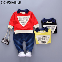 Baby Boys Clothing Spring Brand Clothing Sets Turn Down Collar Cotton Coat Jeans 2pcs Suit Baby