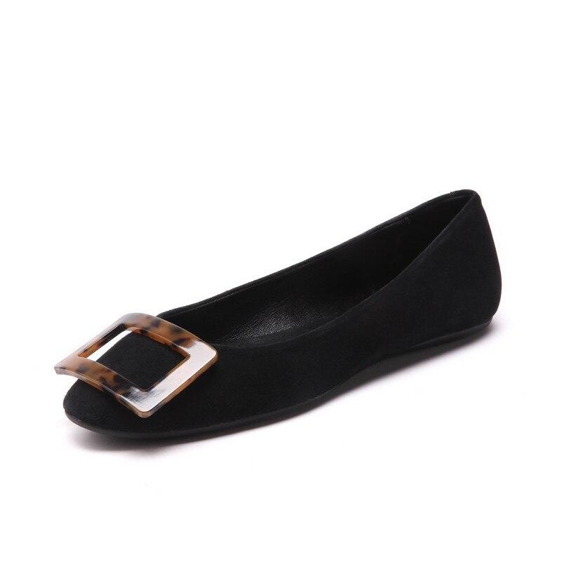 Marca Autunno albicocca vera fibbie Flats punta confortevole pelle in nero Donna Fedonas Primavera rotonda Women casual scarpe tZqRIIwg