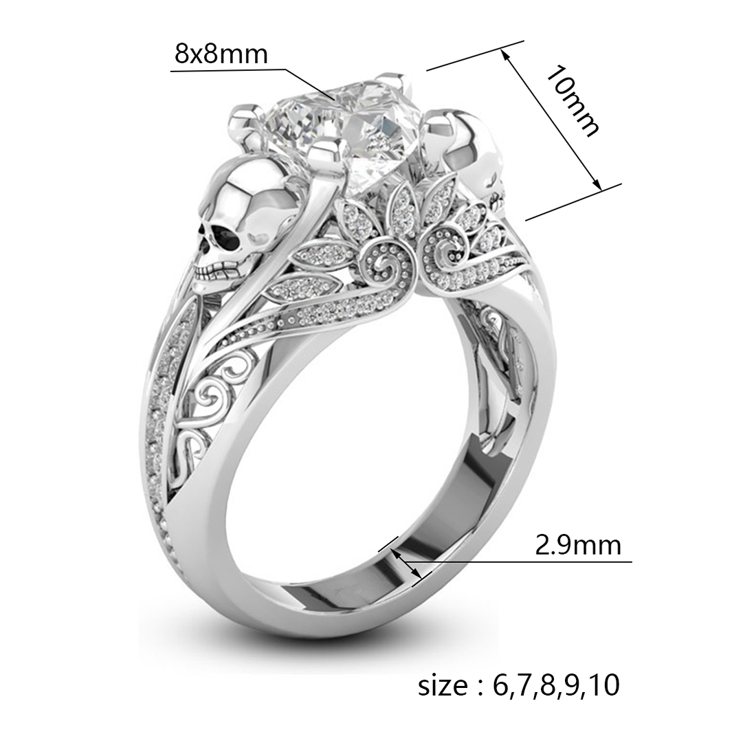 Vancaro Heart Cut Ruby Two Tone 925 Silver Skull Ring Sterling Weeding: Vancaro Wedding Bands Skulls At Websimilar.org