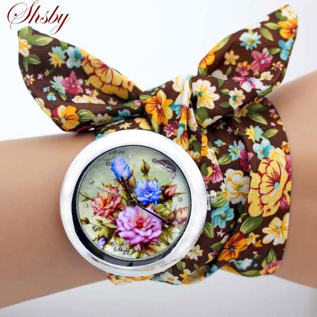 Shsby conception dames fleur tissu montre-Bracelet mode femmes robe montre de haute qualité tissu montre doux filles Bracelet montre