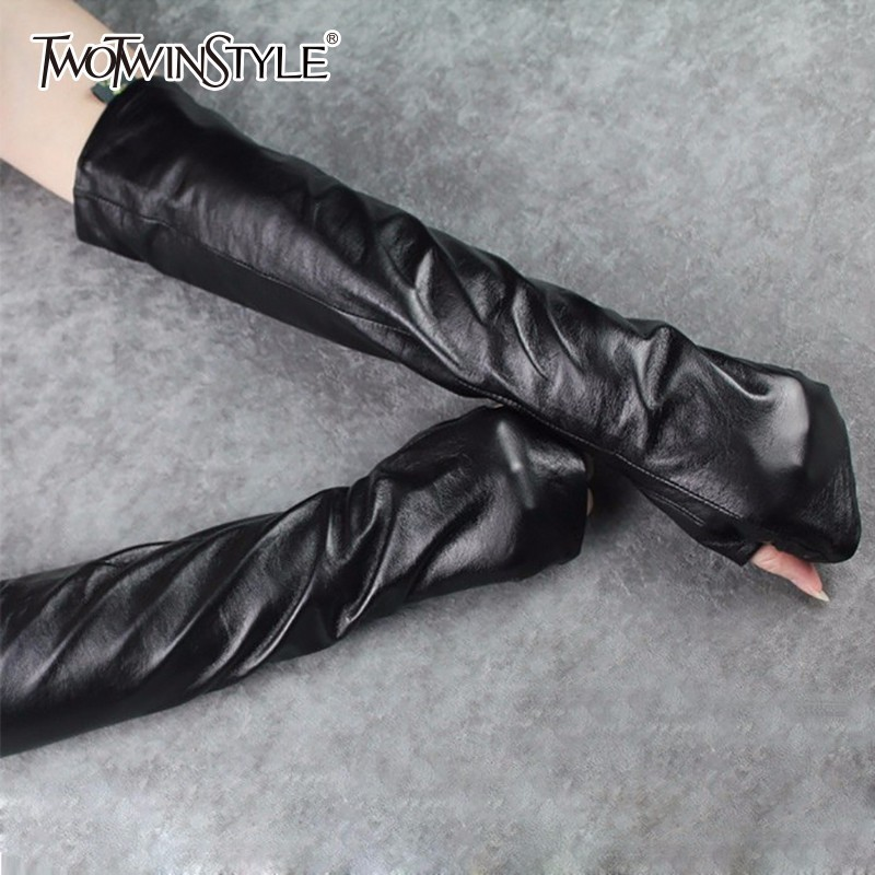 TWOTWINSTYLE PU Leather Long Gloves Ladies Hole Black Arm Sleeve 2020 Spring Female Gloves Accessories Fashion New
