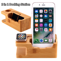 3 Port Besegad Bamboo Charging Stand Charger Station Dock Holder w/ 3 USB Hub Port Cable for iWatch for iPhone X 8 7 6 6s Plus