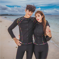 2019 New style women men lovers rash guard matching swimsuit surf wetsuits diving suit one piece swimwear,4 piece bikini set
