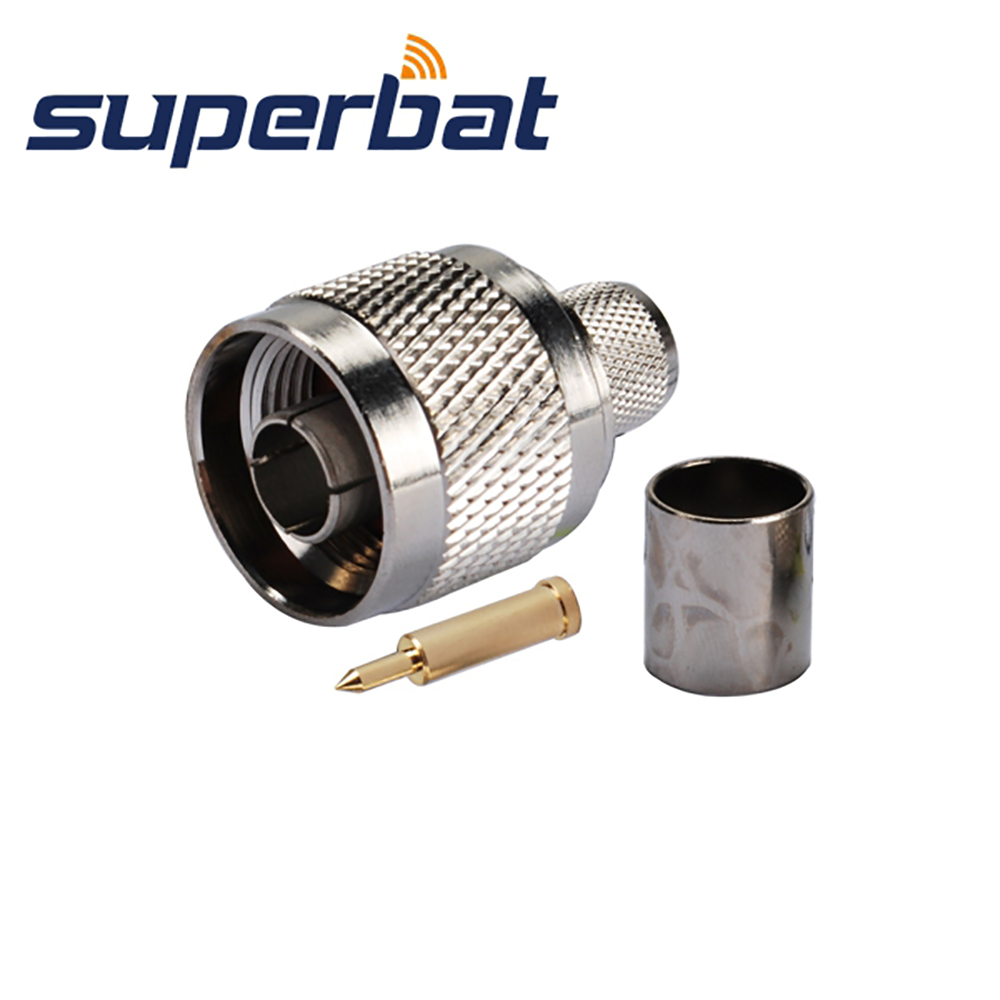 Superbat Wifi Antenna RF Coaxial Connector N Plug Male  Wireless LANs Crimp For RG8 RG214 LMR400 Coaxial Cable 10pcs